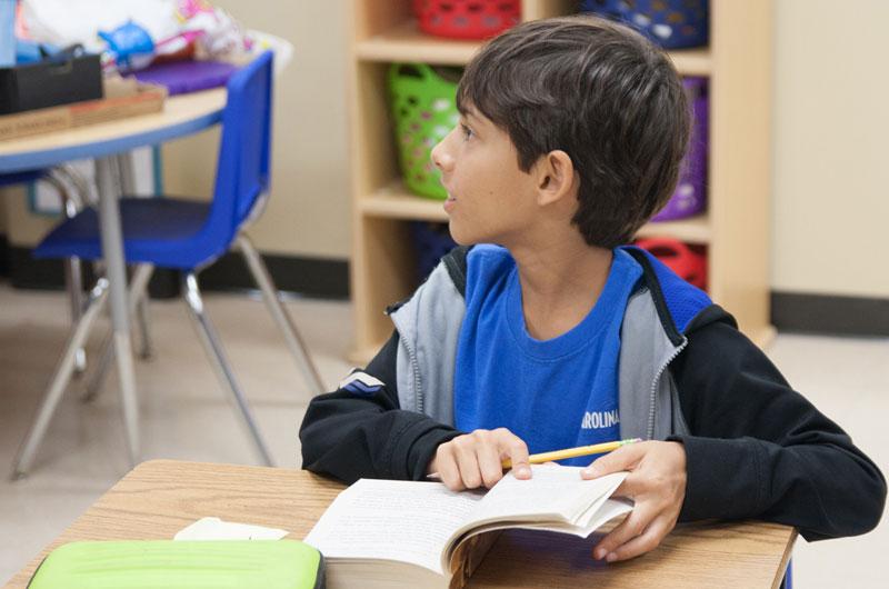 elementary school student reading