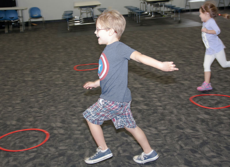 preschool students in physical education class